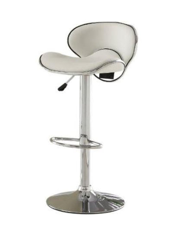 Furniture of America IDF-BR6907WH White Leatherette Adjustable Bar Stool - BarstoolDirect.com