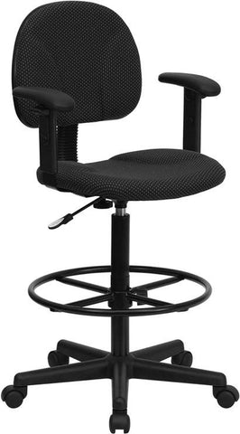 Black Patterned Fabric Multi-Functional Ergonomic Drafting Stool with Arms (Adjustable Range 26''-30.5''H or 22.5''-27''H) BT-659-BLK-ARMS-GG by Flash Furniture - Peazz.com