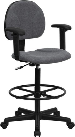 Gray Fabric Multi-Functional Ergonomic Drafting Stool with Arms (Adjustable Range 26''-30.5''H or 22.5''-27''H) BT-659-GRY-ARMS-GG by Flash Furniture - Peazz.com