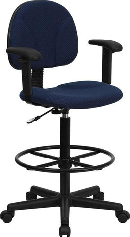 Navy Blue Patterned Fabric Multi-Functional Ergonomic Drafting Stool with Arms (Adjustable Range 26''-30.5''H or 22.5''-27''H) BT-659-NVY-ARMS-GG by Flash Furniture - Peazz.com