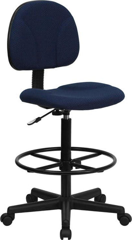 Navy Blue Patterned Fabric Multi-Functional Ergonomic Drafting Stool (Adjustable Range 26''-30.5''H or 22.5''-27''H) BT-659-NVY-GG by Flash Furniture - Peazz.com