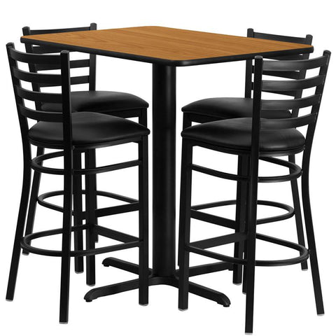 Flash Furniture HDBF1019-GG 24''W x 42''L Rectangular Natural Laminate Table Set with 4 Ladder Back Metal Bar Stools - Black Vinyl Seat - Peazz.com