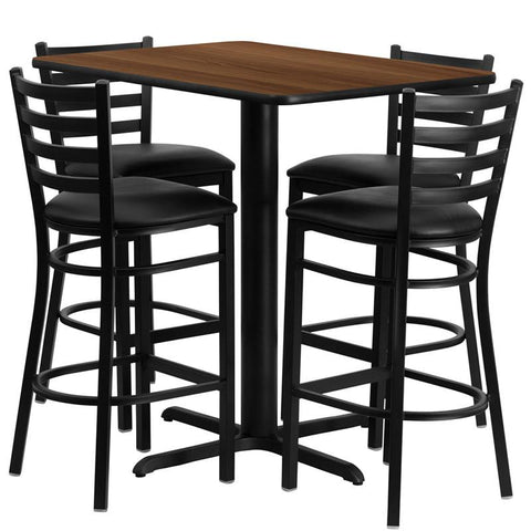 Flash Furniture HDBF1020-GG 24''W x 42''L Rectangular Walnut Laminate Table Set with 4 Ladder Back Metal Bar Stools - Black Vinyl Seat - Peazz.com