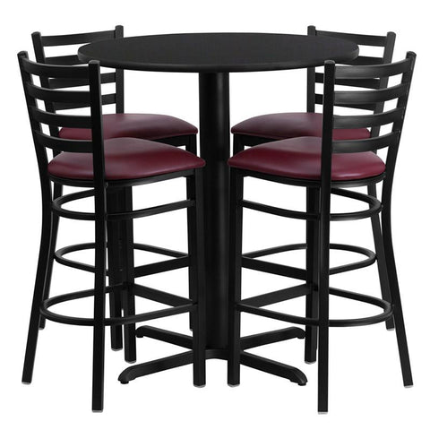 Flash Furniture HDBF1025-GG 30'' Round Black Laminate Table Set with 4 Ladder Back Metal Bar Stools - Burgundy Vinyl Seat - Peazz.com