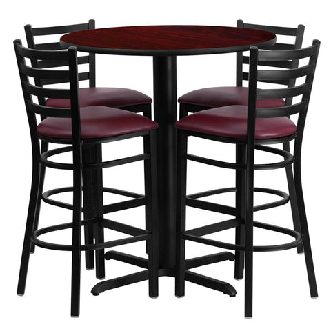 Flash Furniture HDBF1026-GG 30'' Round Mahogany Laminate Table Set with 4 Ladder Back Metal Bar Stools - Burgundy Vinyl Seat - Peazz.com