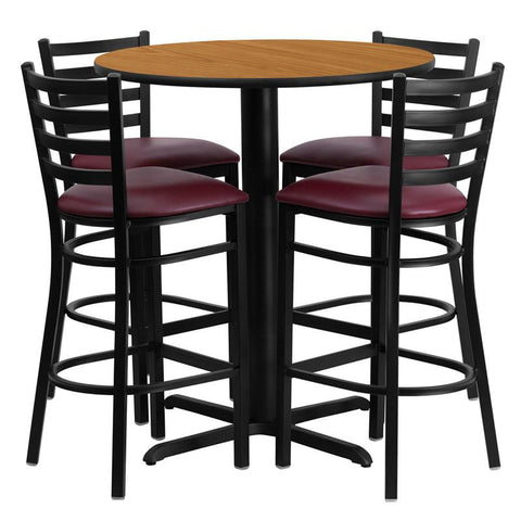 Flash Furniture HDBF1027-GG 30'' Round Natural Laminate Table Set with 4 Ladder Back Metal Bar Stools - Burgundy Vinyl Seat - Peazz.com