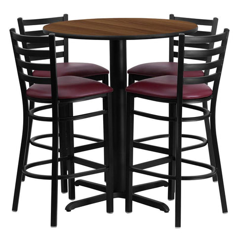 Flash Furniture HDBF1028-GG 30'' Round Walnut Laminate Table Set with 4 Ladder Back Metal Bar Stools - Burgundy Vinyl Seat - Peazz.com