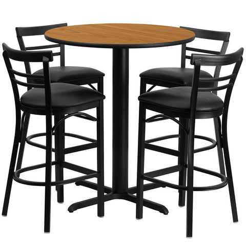 Flash Furniture HDBF1035-GG 24'' Round Natural Laminate Table Set with 4 Ladder Back Metal Bar Stools - Black Vinyl Seat - Peazz.com