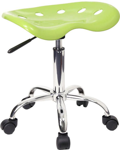 Vibrant Apple Green Tractor Seat and Chrome Stool LF-214A-APPLEGREEN-GG by Flash Furniture - Peazz.com