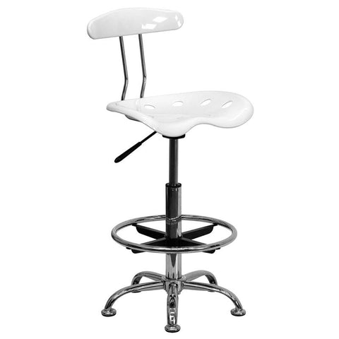 Vibrant White and Chrome Drafting Stool with Tractor Seat LF-215-WHITE-GG by Flash Furniture - Peazz.com
