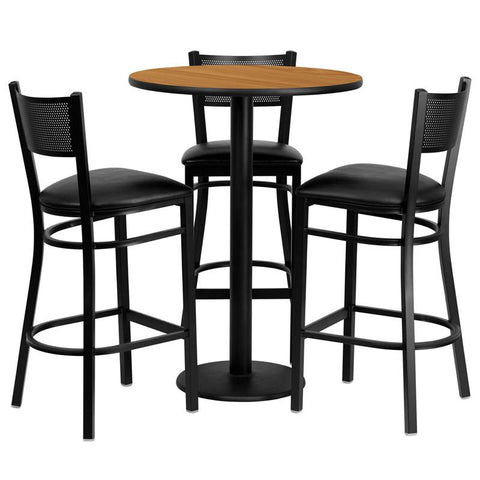 Flash Furniture MD-0016-GG 30'' Round Natural Laminate Table Set with 3 Grid Back Metal Bar Stools - Black Vinyl Seat - Peazz.com