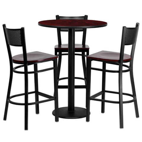 Flash Furniture MD-0017-GG 30'' Round Mahogany Laminate Table Set with 3 Grid Back Metal Bar Stools - Mahogany Wood Seat - Peazz.com