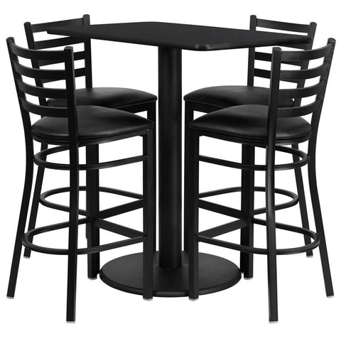 Flash Furniture RSRB1017-GG 24'' x 42'' Rectangular Black Laminate Table Set with 4 Ladder Back Metal Bar Stools - Black Vinyl Seat - Peazz.com