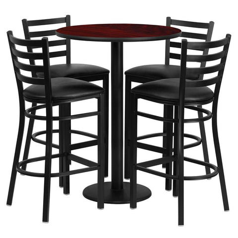 Flash Furniture RSRB1022-GG 30'' Round Mahogany Laminate Table Set with 4 Ladder Back Metal Bar Stools - Black Vinyl Seat - Peazz.com