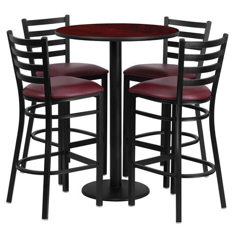 Flash Furniture RSRB1026-GG 30'' Round Mahogany Laminate Table Set with 4 Ladder Back Metal Bar Stools - Burgundy Vinyl Seat - Peazz.com