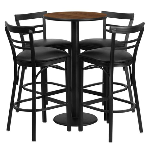Flash Furniture RSRB1036-GG 24'' Round Walnut Laminate Table Set with 4 Ladder Back Metal Bar Stools - Black Vinyl Seat - Peazz.com