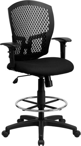 Flash Furniture WL-3958SYG-BK-AD-GG Mid-Back Designer Back Drafting Stool with Padded Fabric Seat and Arms - Peazz.com