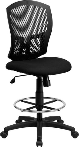 Flash Furniture WL-3958SYG-BK-D-GG Mid-Back Designer Back Drafting Stool with Padded Fabric Seat - Peazz.com