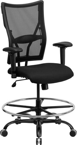 Flash Furniture WL-5029SYG-AD-GG HERCULES Series 400 lb. Capacity Big & Tall Black Mesh Drafting Stool with Arms - Peazz.com