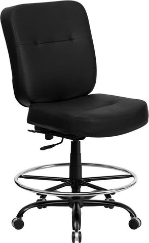 Flash Furniture WL-735SYG-BK-LEA-D-GG HERCULES Series 400 lb. Capacity Big & Tall Black Leather Drafting Stool with Extra WIDE Seat - Peazz.com