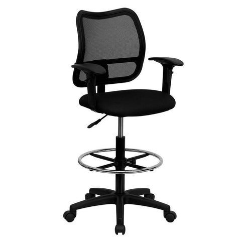 Mid-Back Mesh Drafting Stool with Black Fabric Seat and Arms WL-A277-BK-AD-GG by Flash Furniture - Peazz.com