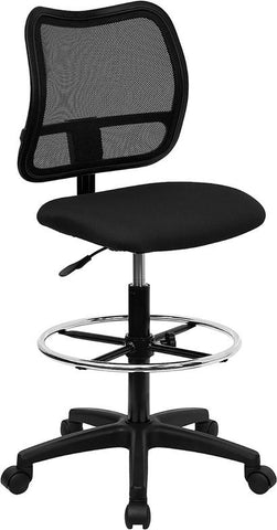 Mid-Back Mesh Drafting Stool with Black Fabric Seat WL-A277-BK-D-GG by Flash Furniture - Peazz.com