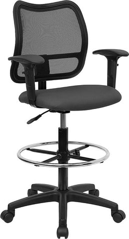 Mid-Back Mesh Drafting Stool with Gray Fabric Seat and Arms WL-A277-GY-AD-GG by Flash Furniture - Peazz.com