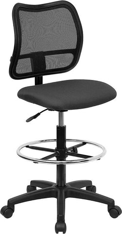 Mid-Back Mesh Drafting Stool with Gray Fabric Seat WL-A277-GY-D-GG by Flash Furniture - Peazz.com