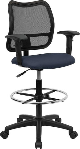 Mid-Back Mesh Drafting Stool with Navy Blue Fabric Seat and Arms WL-A277-NVY-AD-GG by Flash Furniture - Peazz.com