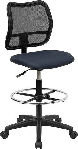 Mid-Back Mesh Drafting Stool with Navy Blue Fabric Seat WL-A277-NVY-D-GG by Flash Furniture - Peazz.com