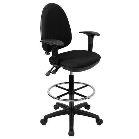 Mid-Back Black Fabric Multi-Functional Drafting Stool with Arms and Adjustable Lumbar Support WL-A654MG-BK-AD-GG by Flash Furniture - Peazz.com
