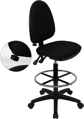 Mid-Back Black Fabric Multi-Functional Drafting Stool with Adjustable Lumbar Support WL-A654MG-BK-D-GG by Flash Furniture - Peazz.com