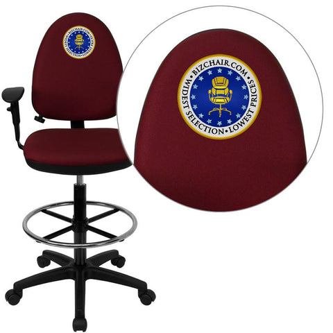 Flash Furniture WL-A654MG-BY-AD-EMB-GG Embroidered Mid-Back Burgundy Fabric Multi-Functional Drafting Stool with Arms and Adjustable Lumbar Support - Peazz.com