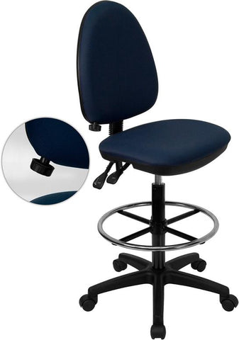 Mid-Back Navy Blue Fabric Multi-Functional Drafting Stool with Adjustable Lumbar Support WL-A654MG-NVY-D-GG by Flash Furniture - Peazz.com