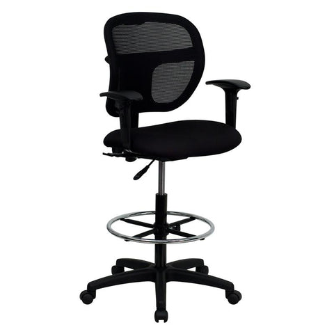 Mid-Back Mesh Drafting Stool with Black Fabric Seat and Arms WL-A7671SYG-BK-AD-GG by Flash Furniture - Peazz.com