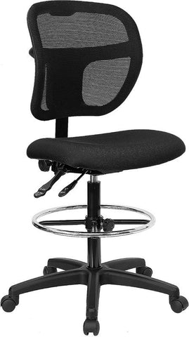Mid-Back Mesh Drafting Stool with Black Fabric Seat WL-A7671SYG-BK-D-GG by Flash Furniture - Peazz.com