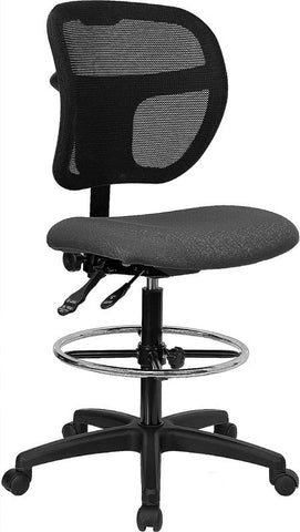 Mid-Back Mesh Drafting Stool with Gray Fabric Seat WL-A7671SYG-GY-D-GG by Flash Furniture - Peazz.com