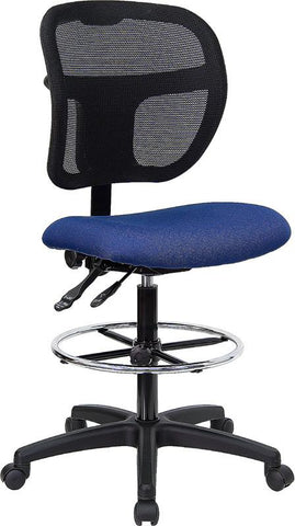 Mid-Back Mesh Drafting Stool with Navy Blue Fabric Seat WL-A7671SYG-NVY-D-GG by Flash Furniture - Peazz.com