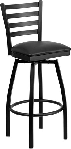 Flash Furniture XU-6F8B-LADSWVL-BLKV-GG HERCULES Series Black Ladder Back Swivel Metal Bar Stool - Black Vinyl Seat - Peazz.com