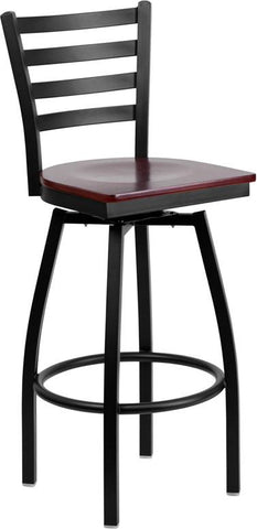 Flash Furniture XU-6F8B-LADSWVL-MAHW-GG HERCULES Series Black Ladder Back Swivel Metal Bar Stool - Mahogany Wood Seat - Peazz.com