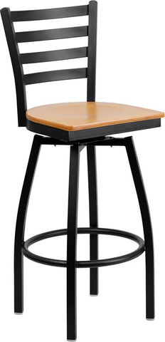 Flash Furniture XU-6F8B-LADSWVL-NATW-GG HERCULES Series Black Ladder Back Swivel Metal Bar Stool - Natural Wood Seat - Peazz.com