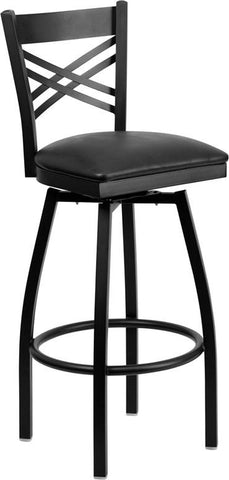 Flash Furniture XU-6F8B-XSWVL-BLKV-GG HERCULES Series Black ''X'' Back Swivel Metal Bar Stool - Black Vinyl Seat - Peazz.com