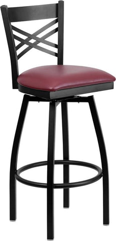 Flash Furniture XU-6F8B-XSWVL-BURV-GG HERCULES Series Black ''X'' Back Swivel Metal Bar Stool - Burgundy Vinyl Seat - Peazz.com