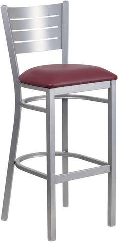 Flash Furniture XU-DG-60402-BAR-BURV-GG HERCULES Series Silver Slat Back Metal Restaurant Barstool - Burgundy Vinyl Seat - Peazz.com