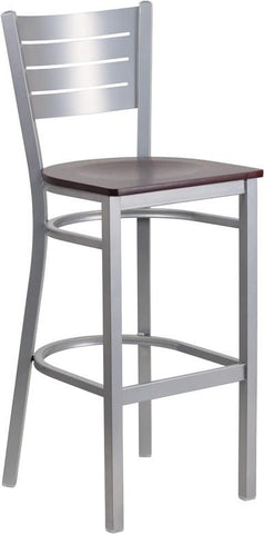 Flash Furniture XU-DG-60402-BAR-MAHW-GG HERCULES Series Silver Slat Back Metal Restaurant Barstool - Mahogany Wood Seat - Peazz.com