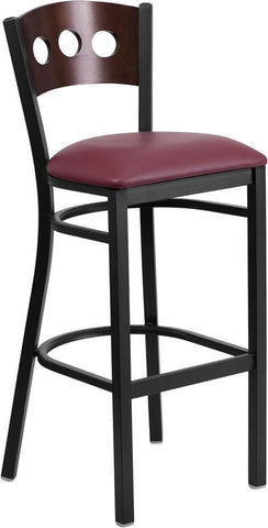 Flash Furniture XU-DG-60516-WAL-BAR-BURV-GG HERCULES Series Black Decorative 3 Circle Back Metal Restaurant Barstool - Walnut Wood Back, Burgundy Vinyl Seat - Peazz.com