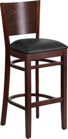 Flash Furniture XU-DG-W0094BAR-WAL-BLKV-GG Lacey Series Solid Back Walnut Wooden Restaurant Barstool - Black Vinyl Seat - Peazz.com