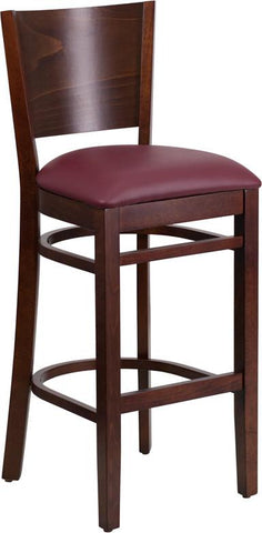 Flash Furniture XU-DG-W0094BAR-WAL-BURV-GG Lacey Series Solid Back Walnut Wooden Restaurant Barstool - Burgundy Vinyl Seat - Peazz.com