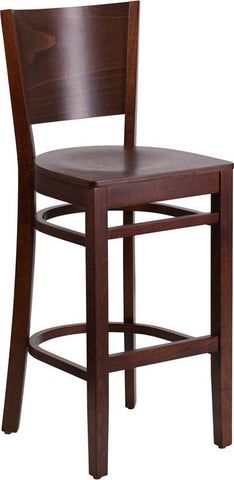 Flash Furniture XU-DG-W0094BAR-WAL-WAL-GG Lacey Series Solid Back Walnut Wooden Restaurant Barstool - Peazz.com