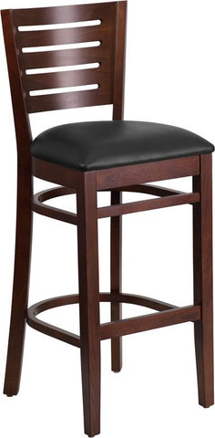 Flash Furniture XU-DG-W0108BBAR-WAL-BLKV-GG Darby Series Slat Back Walnut Wooden Restaurant Barstool - Black Vinyl Seat - Peazz.com